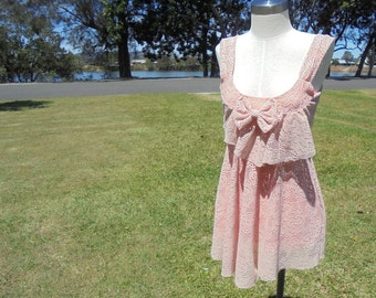 80's / 90's Handmade Lace Dress, Pale Pink Dress, Size XS - S