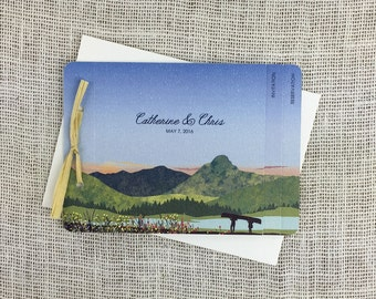 Mount of the Holy Cross Colorado Rocky Mountains 3pg Livret Booklet Wedding Invitation with Tear-off RSVP Postcard and A7 Envelopes-TE1