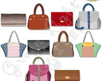 Fashion Bag Clipart, Handbag Clipart, Commercial Use Clipart, Purse Clipart Graphic, Printable Handbag Graphic, Bag Digital Illustration