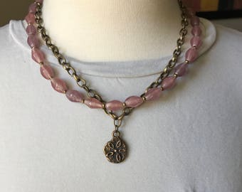 glass bead and bronze necklace