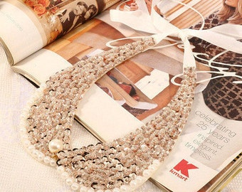 Lovely Pearl, Bead & Sequined Collar Shaped Bib Necklace NK7008