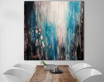 Abstaract Painting / XLarge Canvas Art  / Custom Unstretched Painting / Oversized Painting / Gray Abstract / Original Teal Abstract /PRUTSKI