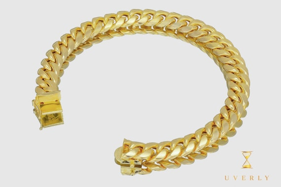 "10mm 14K Semi-Solid Yellow White Gold Miami Cuban Link  Bracelet 7""-9"" inches"