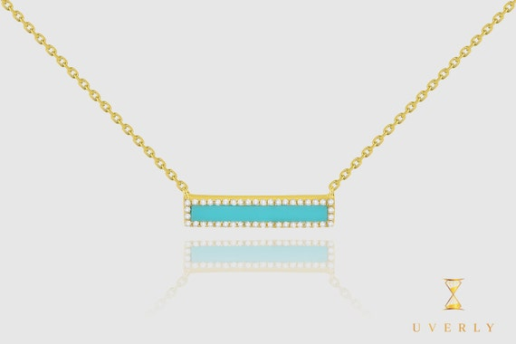 14k Solid Yellow White Rose Gold Diamond Light Blue Bar Women's Necklace
