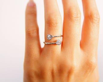 Pierre de naissance double - bague en or Rose - Couples - bague personnalisée - son et Sienne Promise Ring d'anneau-coeur de Pierre de naissance - personnaliser bague