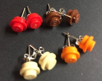 """LEGO """"Warm"""" Colors Round Plate Stud Earrings"""