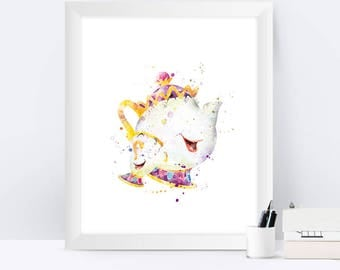 Mrs. Potts Chip Print Nursery Wall Art Beauty and the Beast Print Disney Art Baby Gift Mrs. Potts Poster Watercolor Art Home Decor