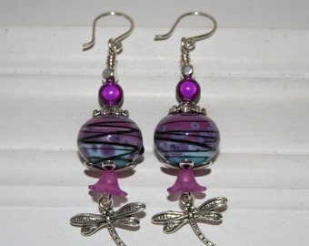 lampwork bead earrings in fusia and light blue