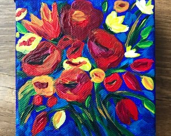 Bright Floral 4x4 Acrylic Painting, Blue, Red, Orange