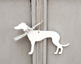 Hanging Greyhound Whippet Lurcher, Handpainted Greyhound  Whippet Lurcher Decoration, Greyhound Whippet Lurcher Ornament, large Greyhound