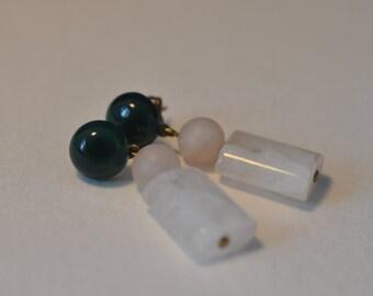 White quartz, agate and rose quartz earrings