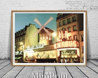 Moulin Rouge Photography, Paris Print, Wall Decor, Minimalist Fine Art Photography, Paris Photo, Modern Wall Art, Travel, Printable Photos