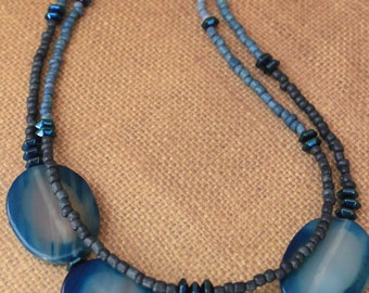 Double Strand Beaded Jewelry Set / Multi Strand / Blue
