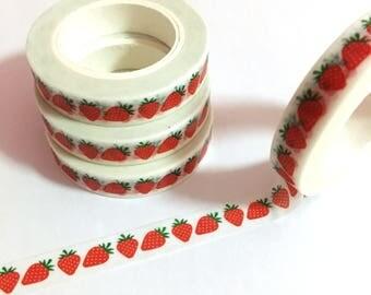 Strawberry Slim Washi Tape, Strawberries Washi Tape, Fruits Washi Masking Tape, Summer Fruits Washi Tape, Red Strawberry, Berries Washi Tape