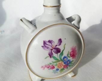 Small Vintage Decanter, Vintage Floral Porcelain Barware, Brandy Decanter, Porcelain Flask, Ceramic Flask, Vintage Flask