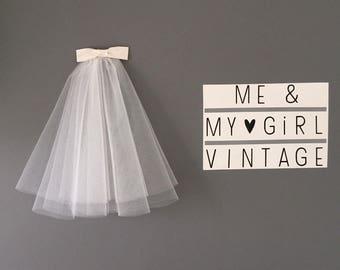Short Soft White Veil, Short 50's 60's veil, 2 layer veil, 50s veil, Short Veil, Retro Veil, Wedding veil, Puffy Veil, Vintage inspired veil