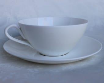 White Scandinavian Cup & Saucer, Gustavsberg Anchor Teacup and Saucer, Sweden Benporslin Tea Set Bone China, Plain Teacup and Saucer