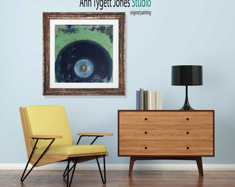 Art print original abstract painting, VINYL record painting, vintage music art, modern handmade wall art, mint green, abstract wall art,