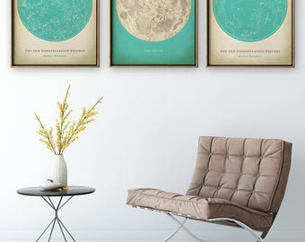 ASTRONOMY Print SET of 3 in Turquoise, Astronomy set, Moon chart print, Moon print, Stars Map, Stars Print, Star Chart, Zodiacal Poster