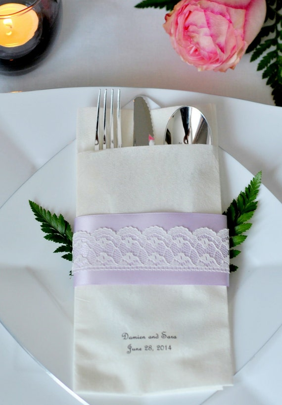 Scalloped Lace Accented Satin Ribbon Linen-Like Wedding Napkin