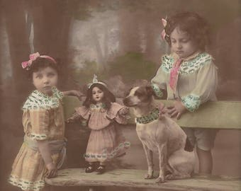 Adorable Children Couple Portrait with Miss Doll and Mister Dog in The Park… 1910s Original Antique Hand Tinted Belgian Photo Postcard