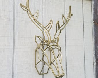 Geometric Wall Decor / Iron Deer Head / Metal Deer Art/ Deer Antler/ Large