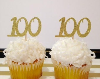 100 Birthday Cupcake Toppers / Milestone Birthday / 100 Birthday Party Decor / Custom Cupcake Toppers