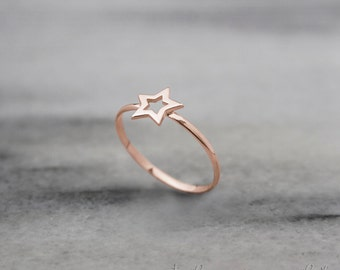 Rose Gold Ring, Star Ring, 14k Gold Ring, Rose Gold, Dainty Gold Ring, Minimalist Jewelry, Gift for Her, Handmade Jewelry, Stacking Rings