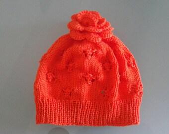 Cappellino arancione per bambina 1-2 anni con fiore-ponpom, idea regalo