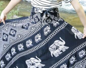Black skirt Elephant skirt Gypsy skirt Elephant clothes Bohemian skirt Hippie skirt Boho clothing Tribal skirt