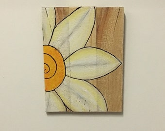 White Daisy Wood Sign,  Reclaimed Wood Sign, Hand Painted Daisy,  Rustic Home Decor, Wall Art, Country, Rustic Wall Decor, Gerber Daisy, Art