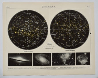 1908 - Sky map,  an original antique print from 1908, a lithography representing a sky map. Vintage galaxy poster.