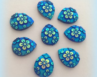 10 blue teardrop flatback, cabochon craft supplies 13*10mm jewelry & beading, scrapbooking pendant cardmaking resin decoden oval flower