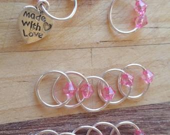 Stitch Marker Set Silver/Pink