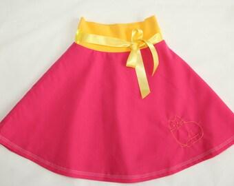 Pink skirt for girl, cat design, baby skirt, toddler skirt, skater skirt, summer skirt, elastic waist skirt, toddler clothes, summer fashion