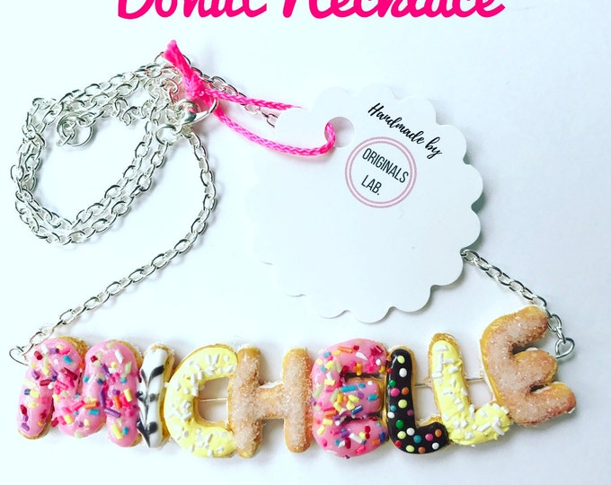 Personalised Donut Custom Name Necklace with Delicious Sprinkles and Icing