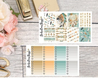 Tribal Boho Weekly Kit Planner Stickers - For Erin Condren Life Planner or Happy Planner