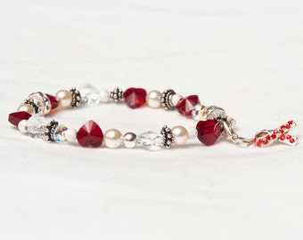 The Dottie Handmade Swarovski Crystal Heart Stretch Bracelet in Ruby Red and Clear Crystal