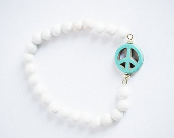 White marble and turquoise beaded peace bracelet
