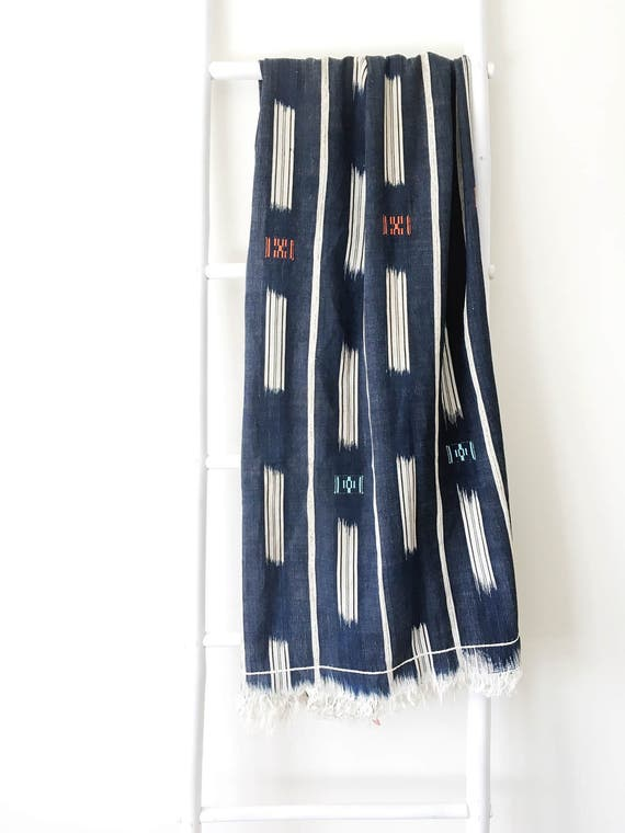 Deep Indigo Stripe & Dash Throw With Embroidery
