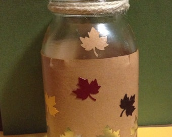Rustic Autumn Leaves mason jar votive holder