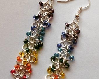 Long Dangle Beaded Chakra Earrings
