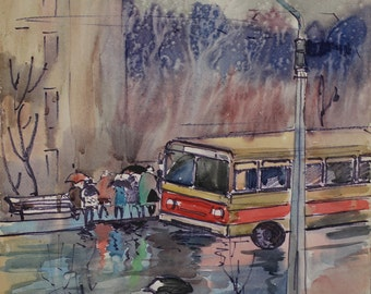 Vintage 1964 impressionist cityscape rain watercolor ukrainian professional art