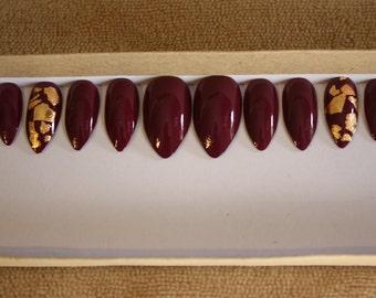Plum gold leaf gold foil nails fake nails custom nails press ons