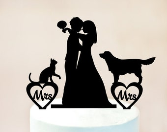 Lesbian cake topper,lesbian with dog and cat,lesbian wedding cake topper,mrs and mrs cake topper with dog and cat,lesbian silhouette (1077)