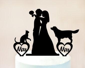 Same Sex Lesbian Hula Girl Wedding Cake Topper Gay Wedding
