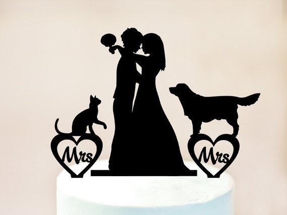 Lesbian Cake Topperlesbian With Dog And Catlesbian Wedding