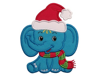 Christmas Baby Boy Elephant Applique Design-Christmas Design-4x4, 5x7, 6x10 Hoop-4 Sizes-Instant Download-Design in digital format.