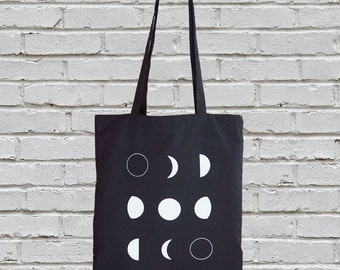 Cotton canvas tote bag - moon tote bag - moon phases tote bag - canvas totes - screen printed tote bag