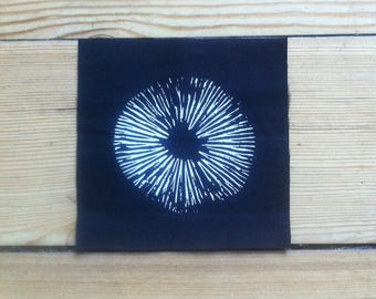 Spore Print Patch, Sew on Patch, Screen Printed Patch, Black Patch, punk patch